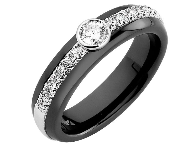 pierścionek ceramika z cyrkoniami styl Cartier diamond ring