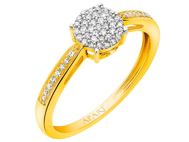 Pierścionek Z żółtego Złota Z Diamentami Wzór 160324 Apart