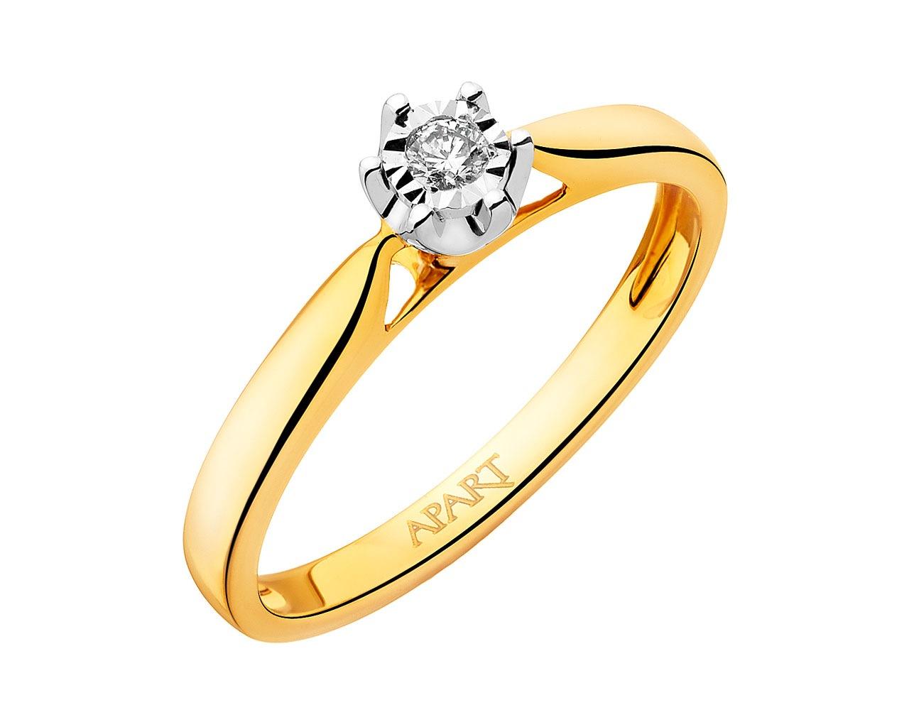 Pierścionek Z żółtego I Białego Złota Z Brylantem Wzór 109461 Apart