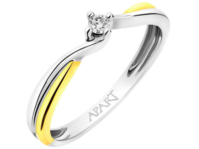Pierścionek Z Białego I żółtego Złota Z Brylantem Wzór 100502 Apart