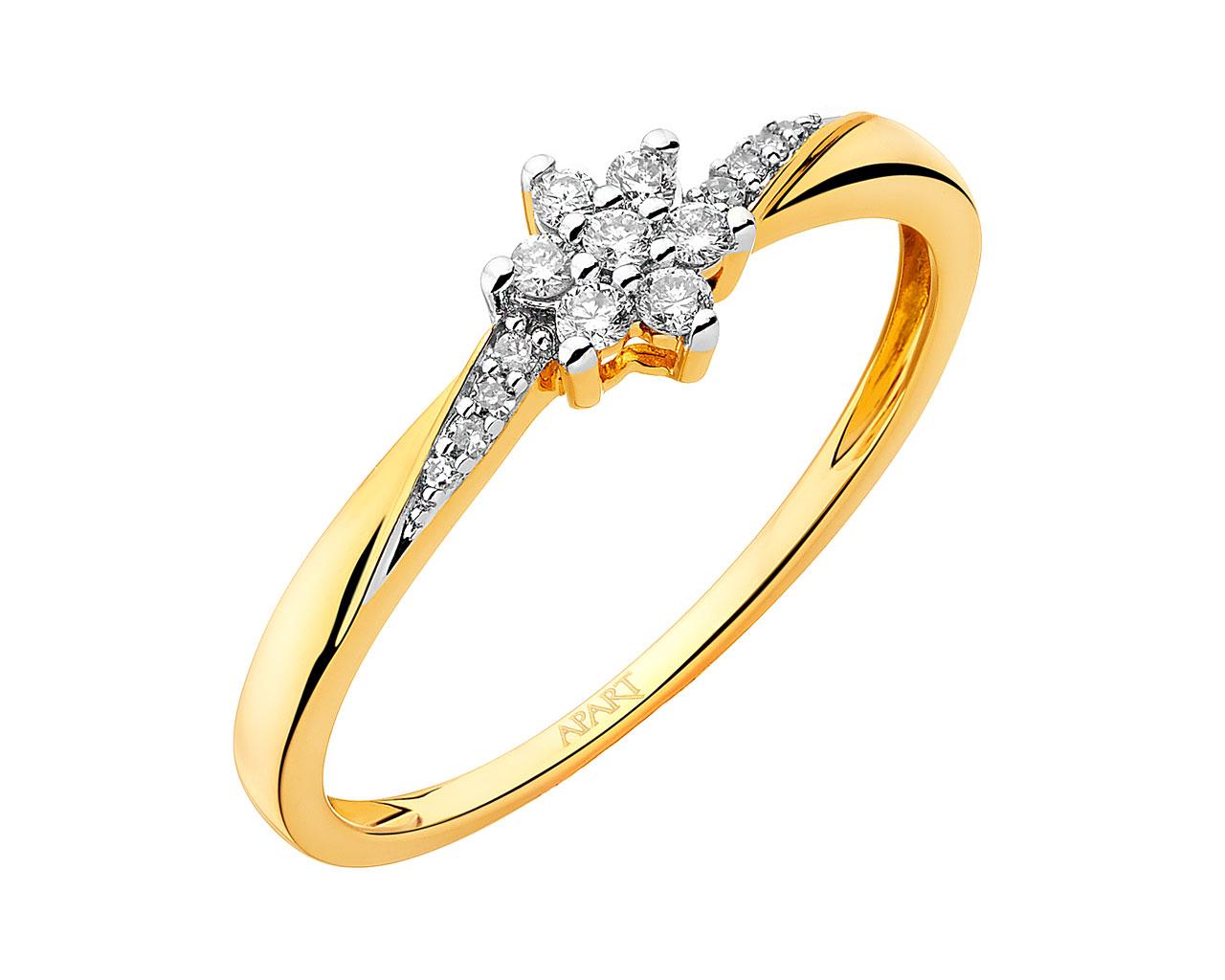 Pierścionek Z żółtego Złota Z Diamentami Wzór 105440 Apart