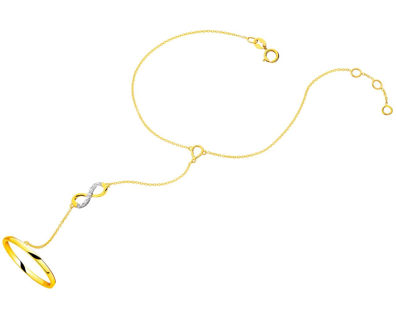 d74f95ae472ff2 Bransoleta na palec z żółtego złota z brylantem