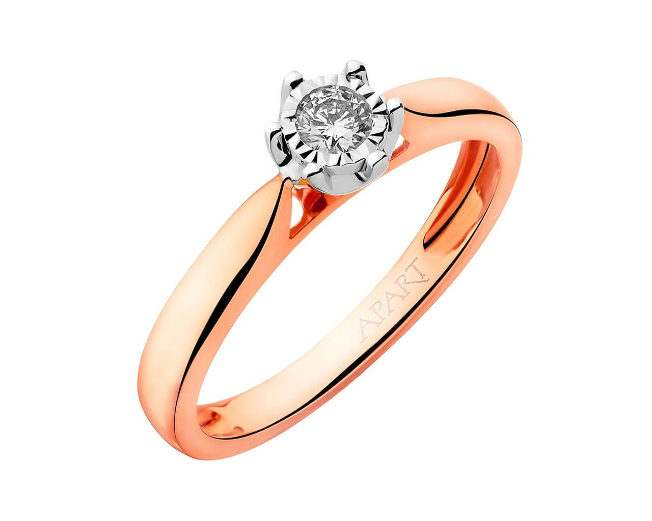 53318b06d9f6fc Pierścionek z różowego i białego złota z brylantem - wzór 109.461 / Apart