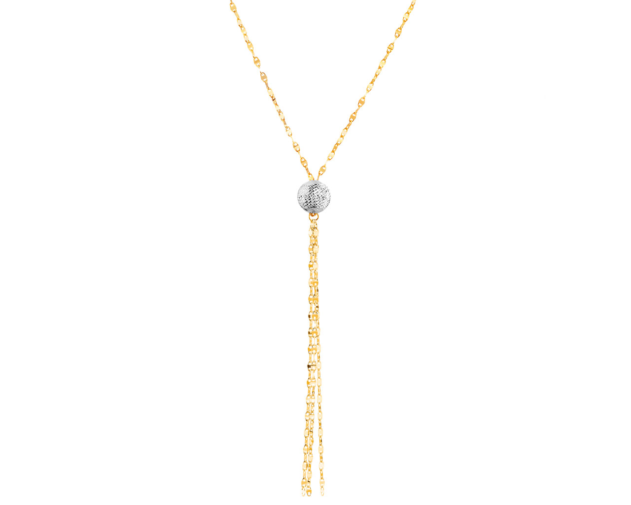 a7b5293084aa9a Złoty naszyjnik z kulką i łańcuszkami z białego zlota