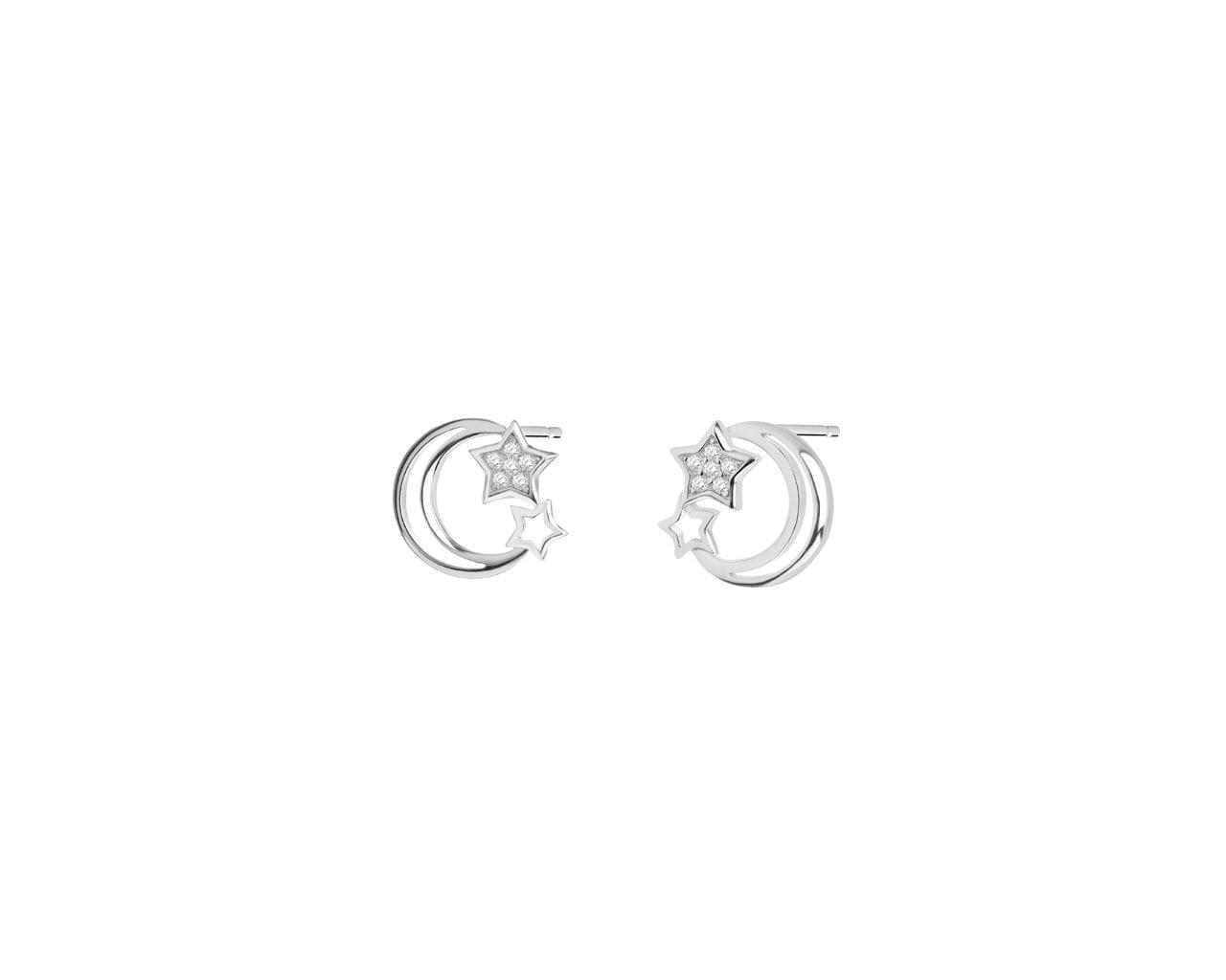 824a2fb73aefb9 Kolczyki srebrne z cyrkoniami - gwiazdki, księżyc