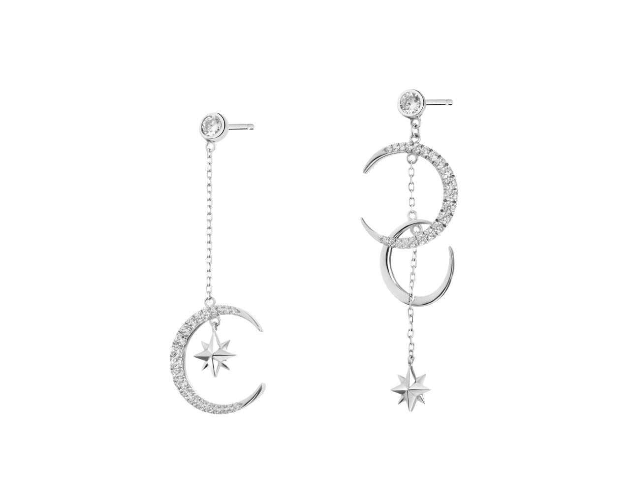 e93236307342f2 Kolczyki srebrne z cyrkoniami - księżyce, gwiazdki