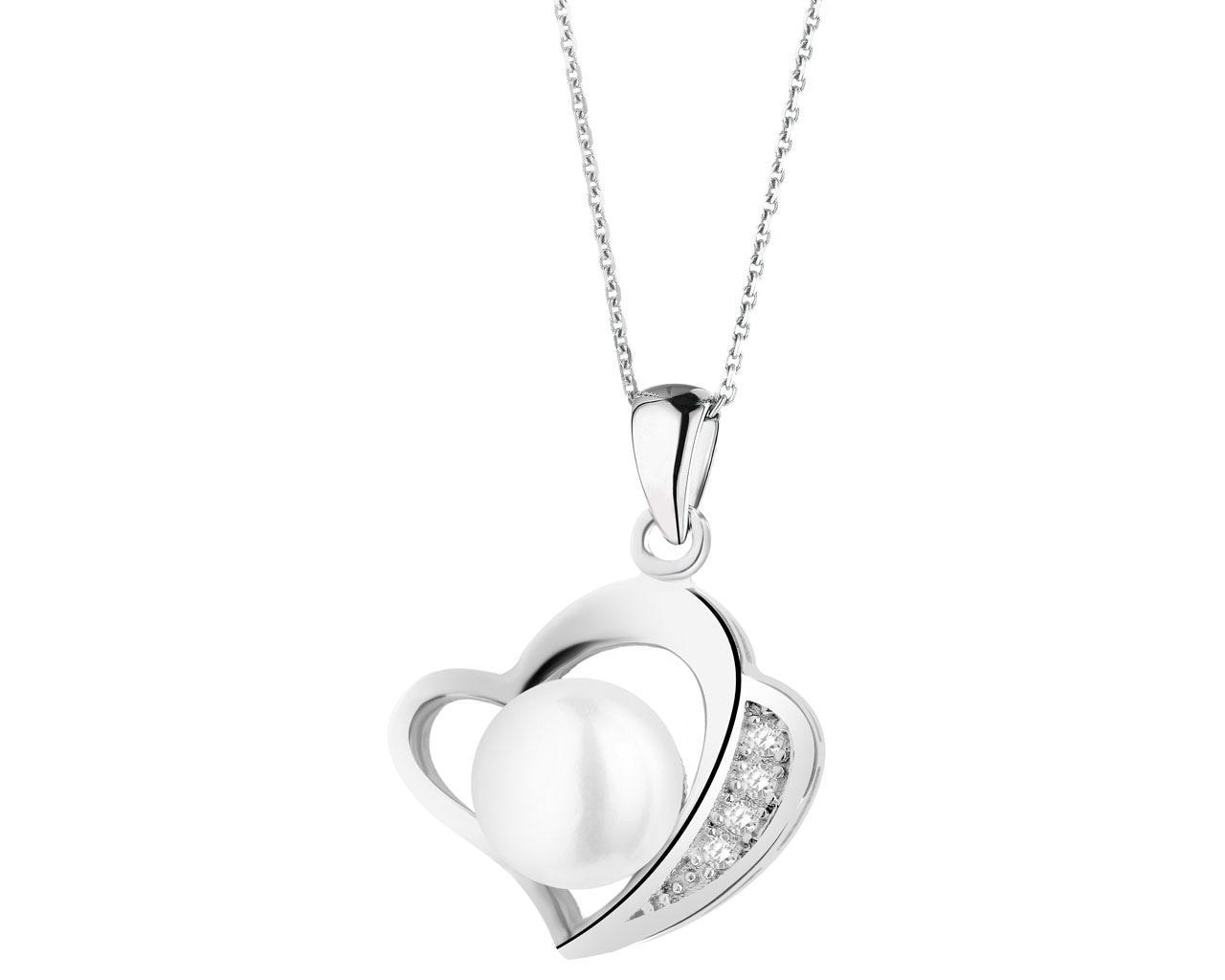 c00f67c3fe32e1 Zawieszka srebrna z perłą i cyrkoniami - serce