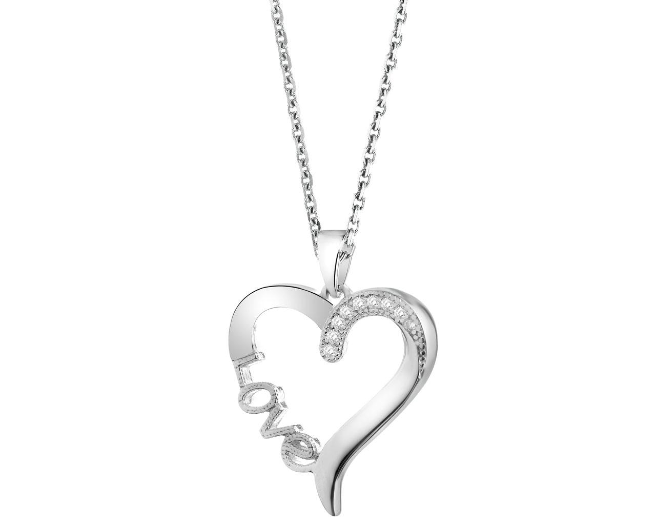 54a62e3f21d324 Zawieszka srebrna z cyrkoniami - serce - wzór AP522-6228 / Apart