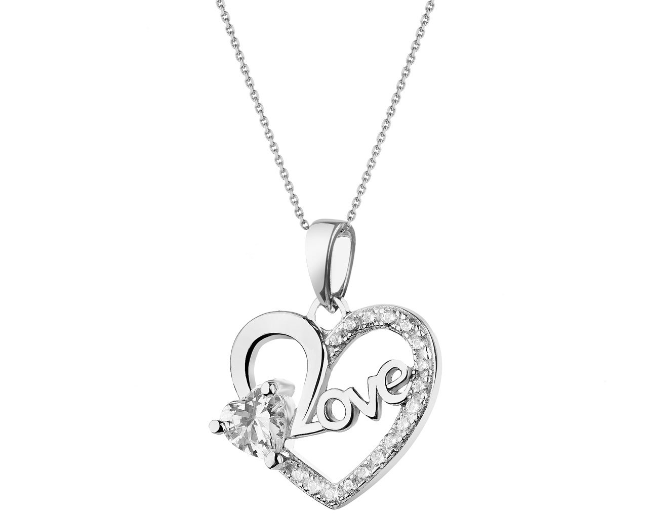 de359084a4c4ba Zawieszka srebrna z cyrkoniami - serce - wzór AP522-7869 / Apart