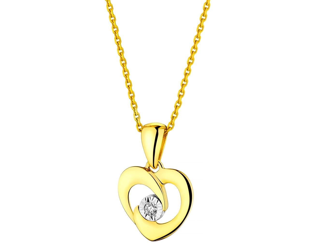 e21f09a41b749a Zawieszka z żółtego i białego złota z brylantem - serce - wzór 110.340 /  Apart