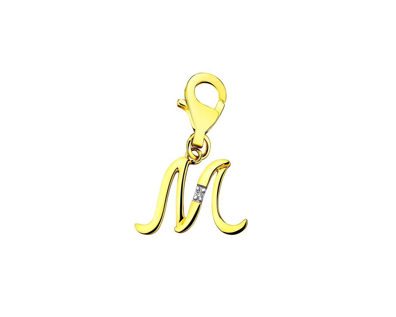 Zawieszka Charms Z żółtego Złota Z Diamentem Litera M Wzór