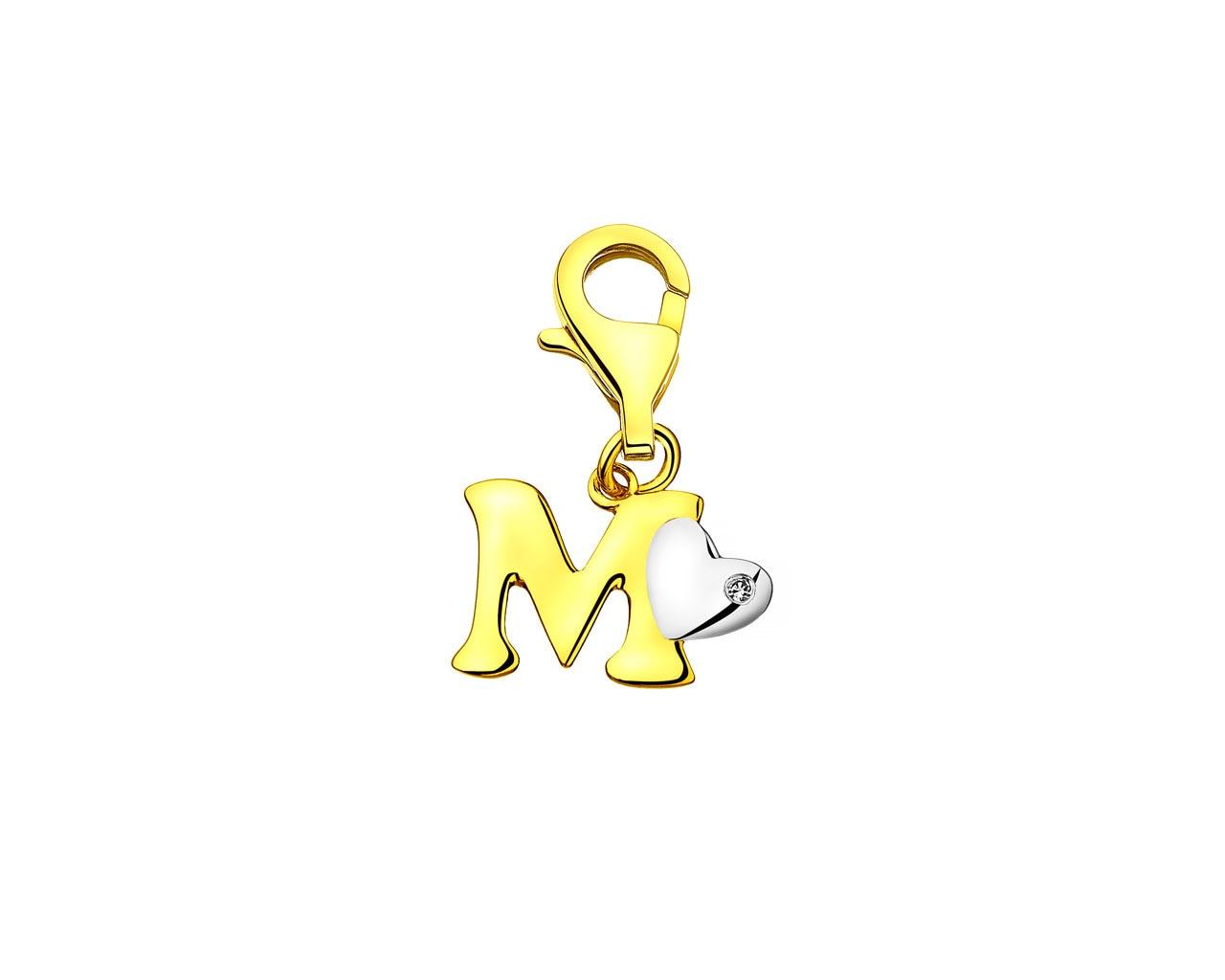 Zawieszka Z żółego Złota Z Diamentem Litera M Wzór 110370m Apart