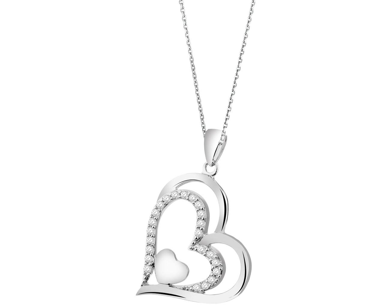 f6256ad3aba89a Zawieszka srebrna z cyrkoniami - serca - wzór AP523-0780 / Apart
