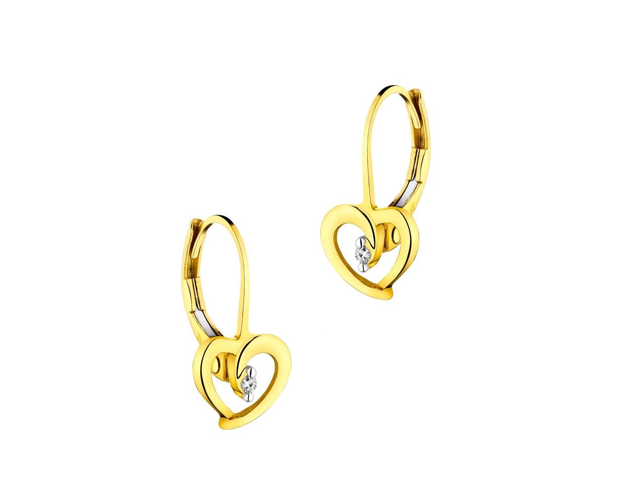 6f17f3ec6e877f Kolczyki z żółtego złota z diamentami - serca - wzór 110.380 / Apart