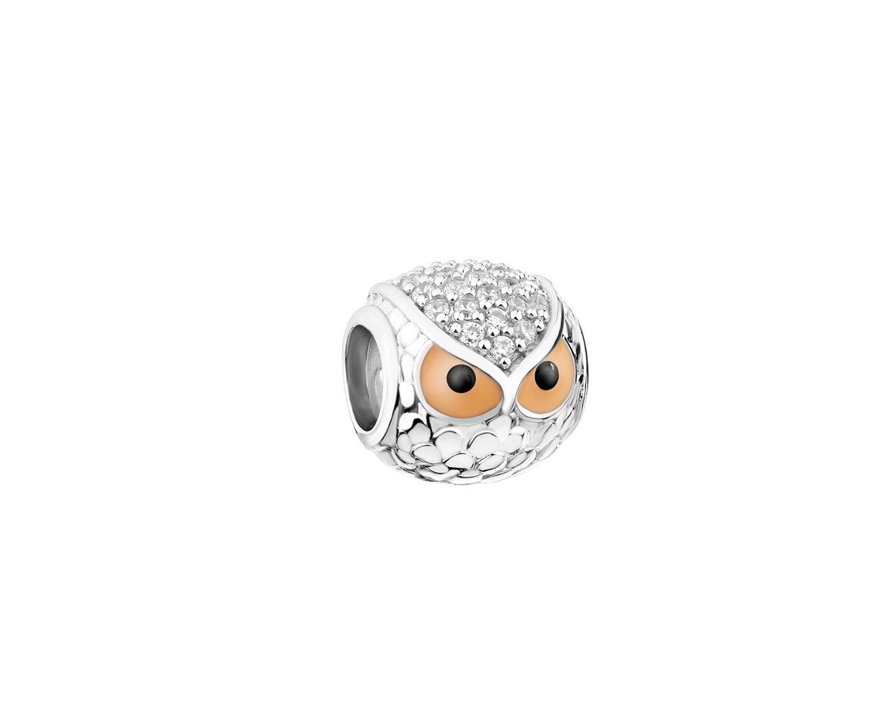 c70d2600f754b6 Zawieszka srebrna beads z cyrkoniami i emalią - sowa