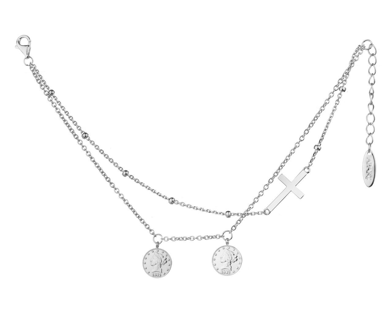 71f7e2ad3c7d77 Bransoletka srebrna - monety, krzyżyk