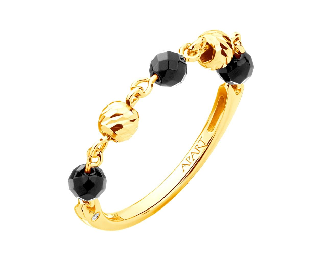 6d4c05b1855014 Pierścionek z żółtego złota z agatami i diamentami
