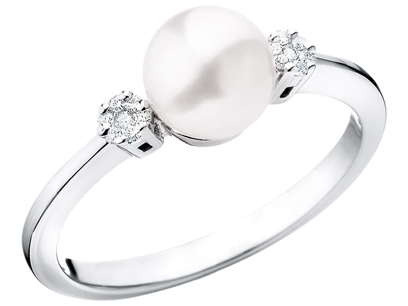 7fcc24713a Pierścionek z białego złota z diamentami i perłą - wzór 103.163   Apart