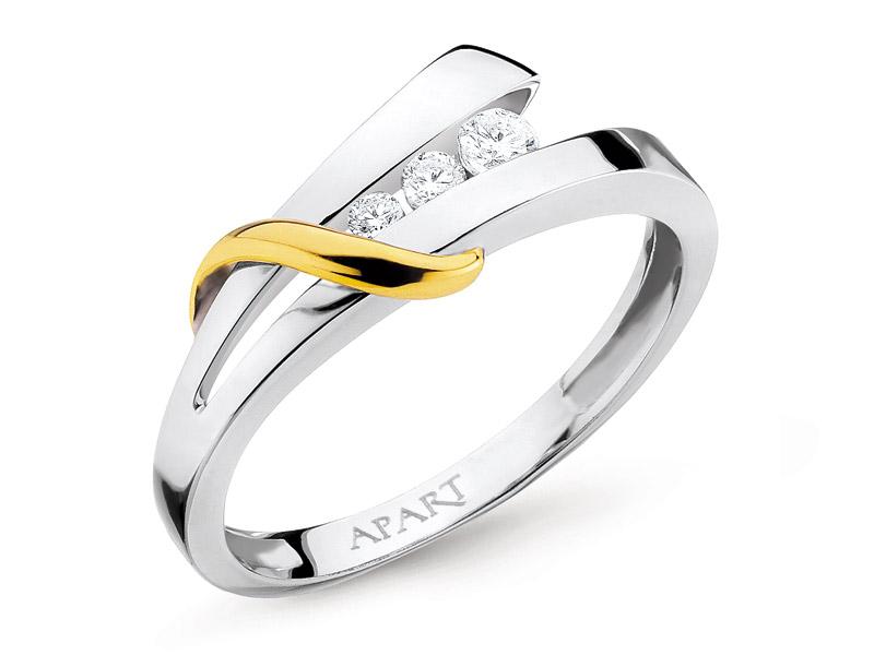 Pierścionek Z Białego I żółtego Złota Z Brylantami Wzór 100504