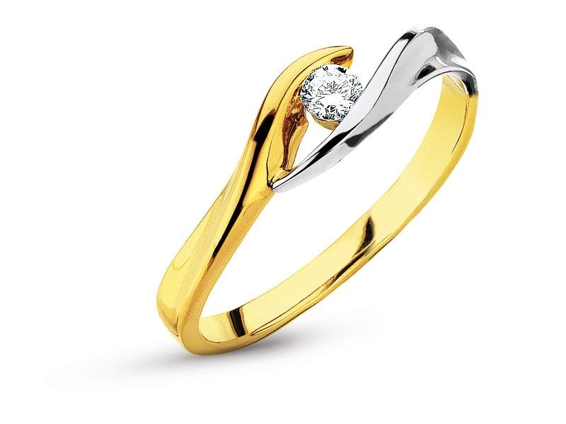 Pierścionek Z żółtego I Białego Złota Z Brylantem Wzór 101146 Apart