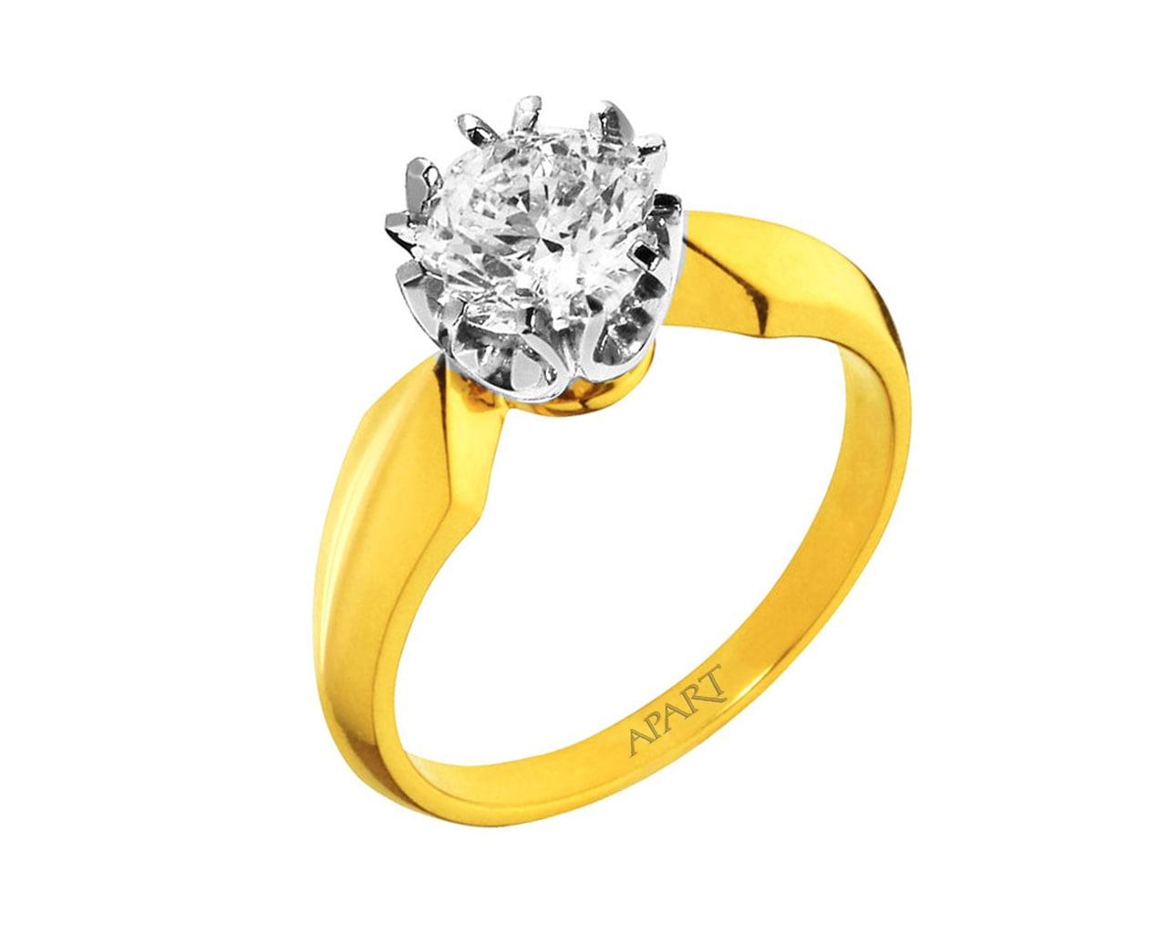 Pierścionek Z żółtego I Białego Złota Z Brylantem Wzór 100351 Apart