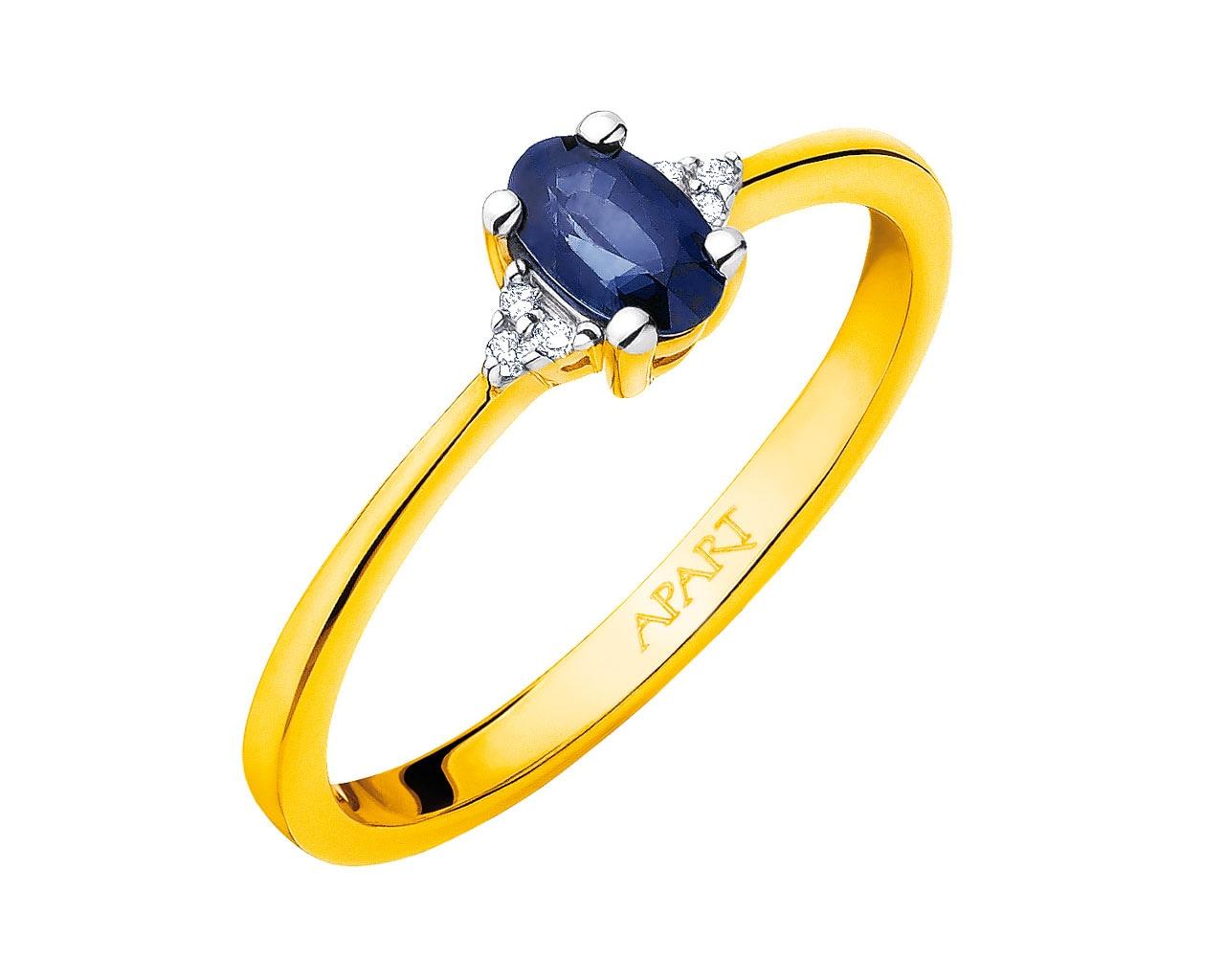 65660a3233bde8 Pierścionek z żółtego złota z diamentami i szafirem - wzór 103.449 / Apart