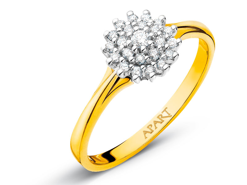 Pierścionek Z żółtego I Białego Złota Z Brylantami Wzór 109362