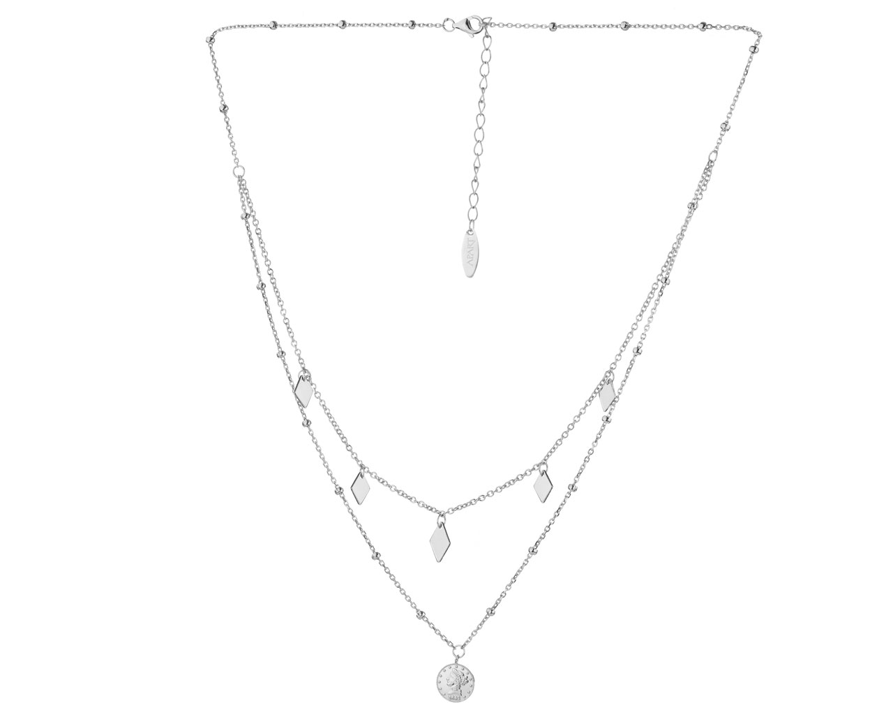 Sterling Silver Necklace with Cubic Zirconia - Coin