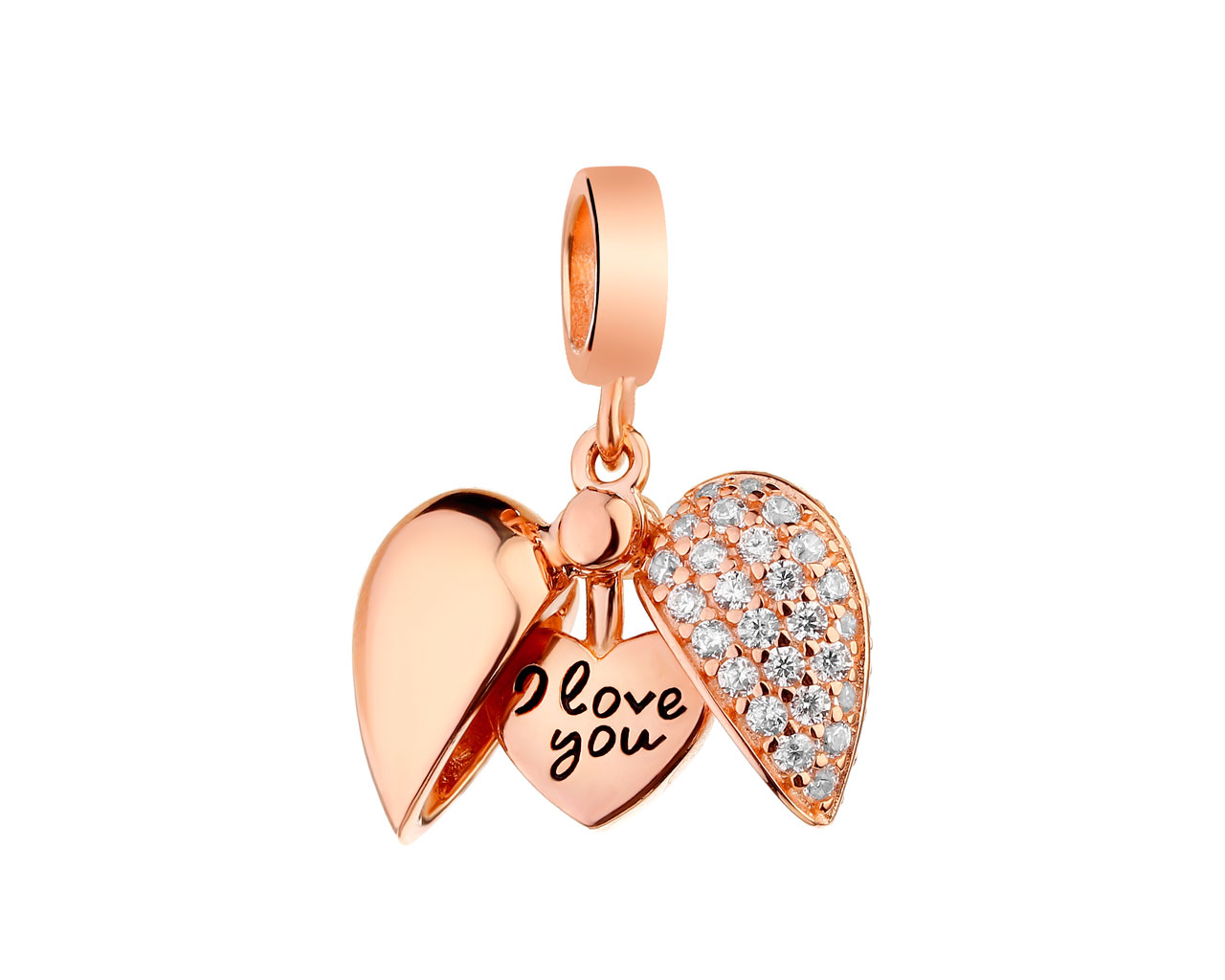 Sterling Silver Beads Pendant with Cubic Zirconia & Enamel - Heart