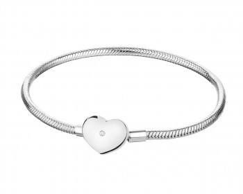 Sterling Silver Beads Bracelet with Cubic Zirconia - Heart