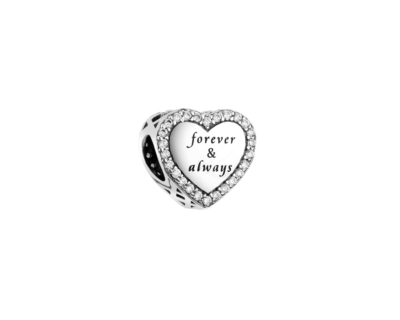 Sterling silver beads pendant with cubic zirconia - heart, family