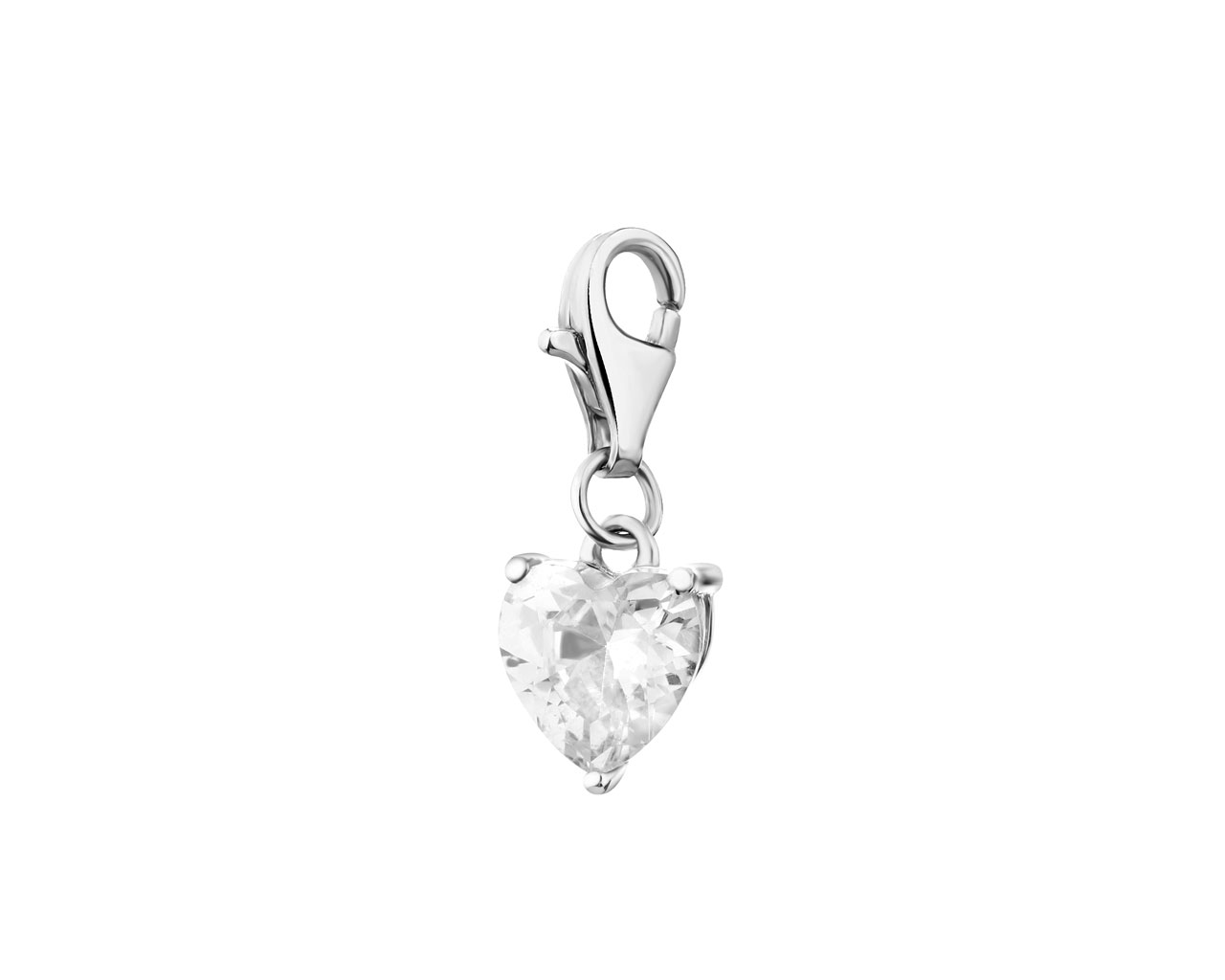 Sterling Silver Charms Pendant with Cubic Zirconia - Heart