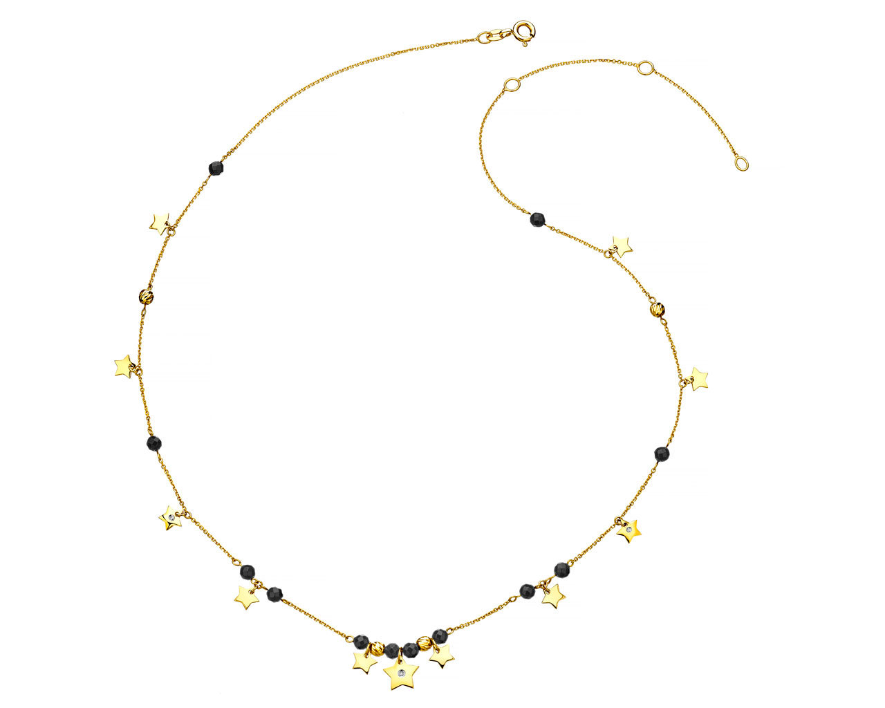 Yellow Gold Necklace with Diamond & Agate - Stars