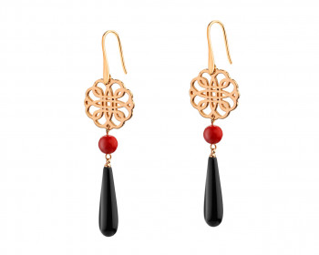 Gold Plated Brass Earrings with Glass