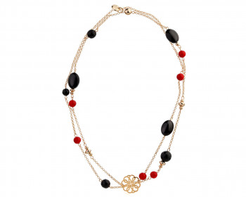 Gold Plated Brass Necklace with Agate & Glass Beads