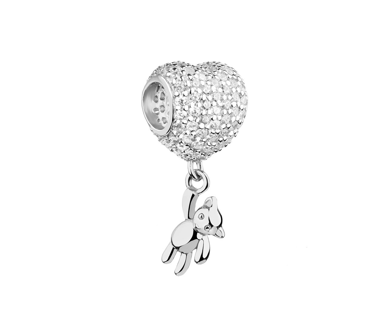 Sterling silver beads pendant with cubic zirconia - heart, teddy