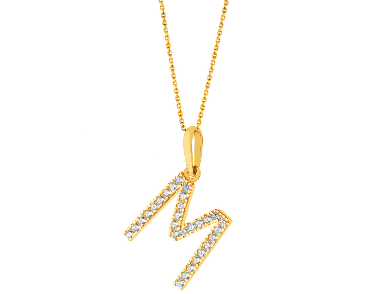 Gold pendant with cubic zirconia - letter M