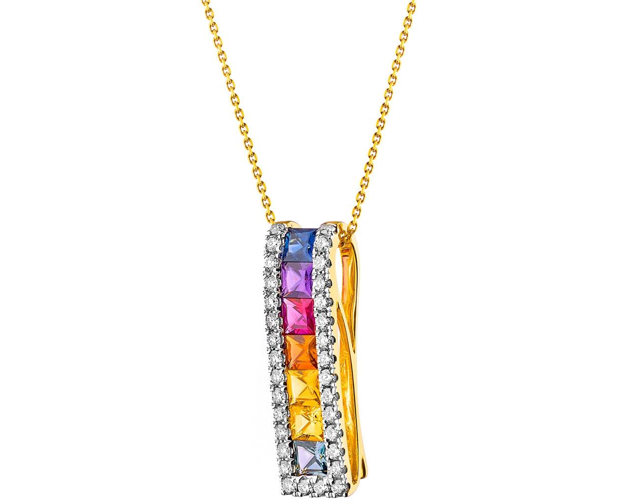 Colgante de oro blanco 9ct Amatista Rectángulo Colgante por elementos Dorado GP2168M