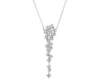 Rhodium-Plated White Gold Necklace with Diamonds