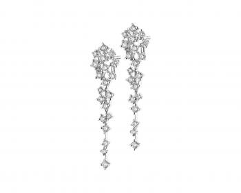 Rhodium-Plated White Gold Earrings with Diamonds