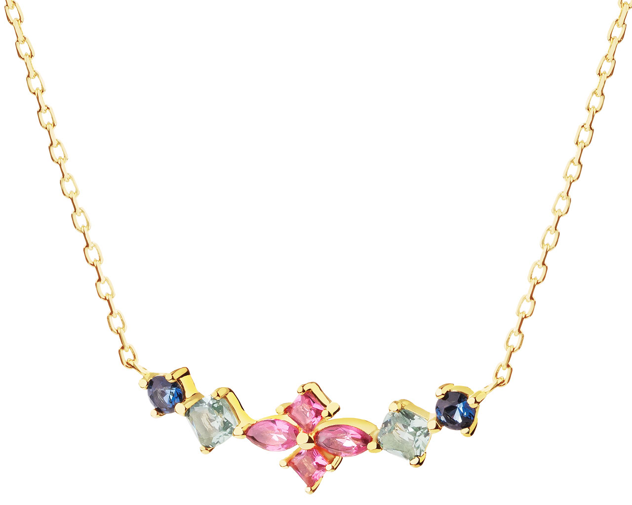 Gold-Plated Silver Necklace with Cubic Zirconia