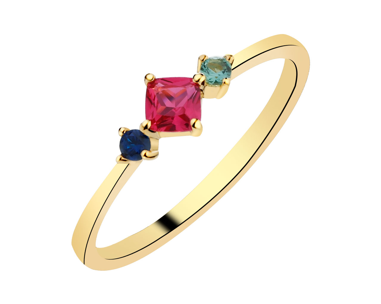 Gold-Plated Silver Ring with Cubic Zirconia