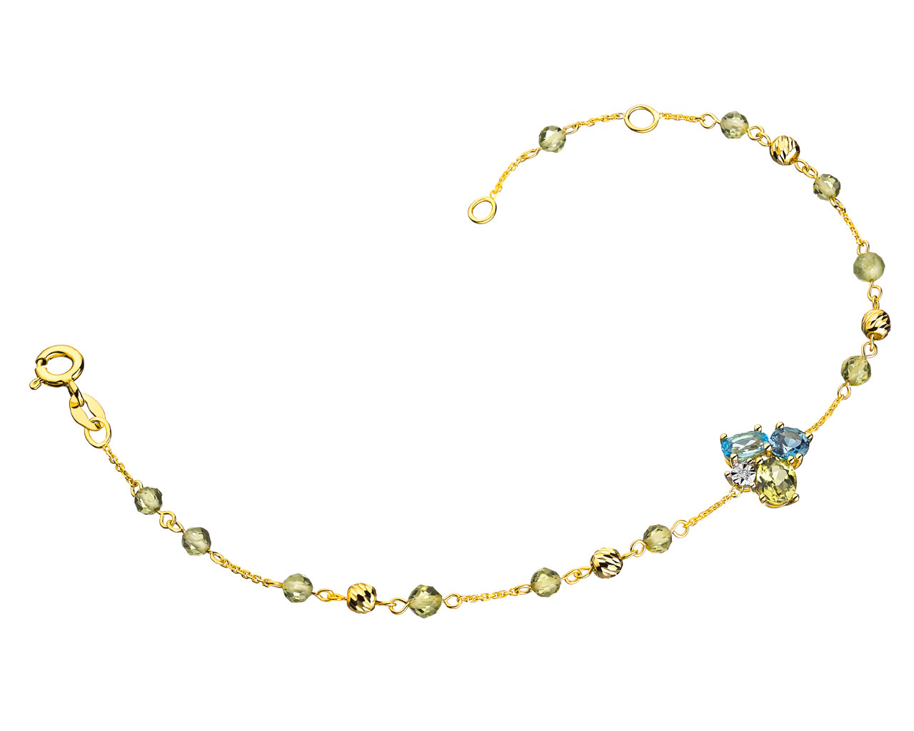 9 K Rhodium-Plated Yellow Gold Bracelet with Diamond