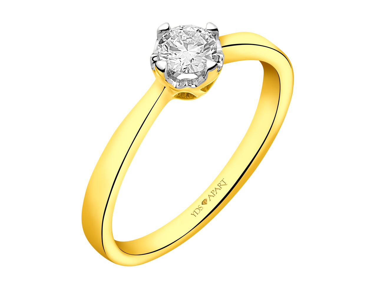 18 K Rhodium-Plated Yellow Gold Ring with Diamond