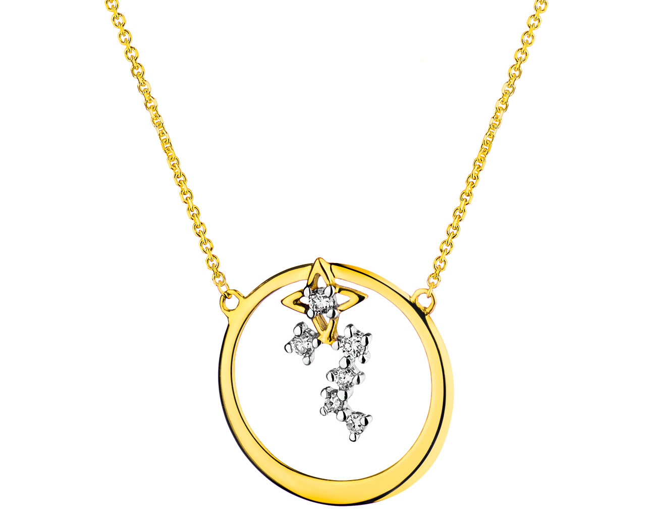9 K Rhodium-Plated Yellow Gold Necklace with Diamonds