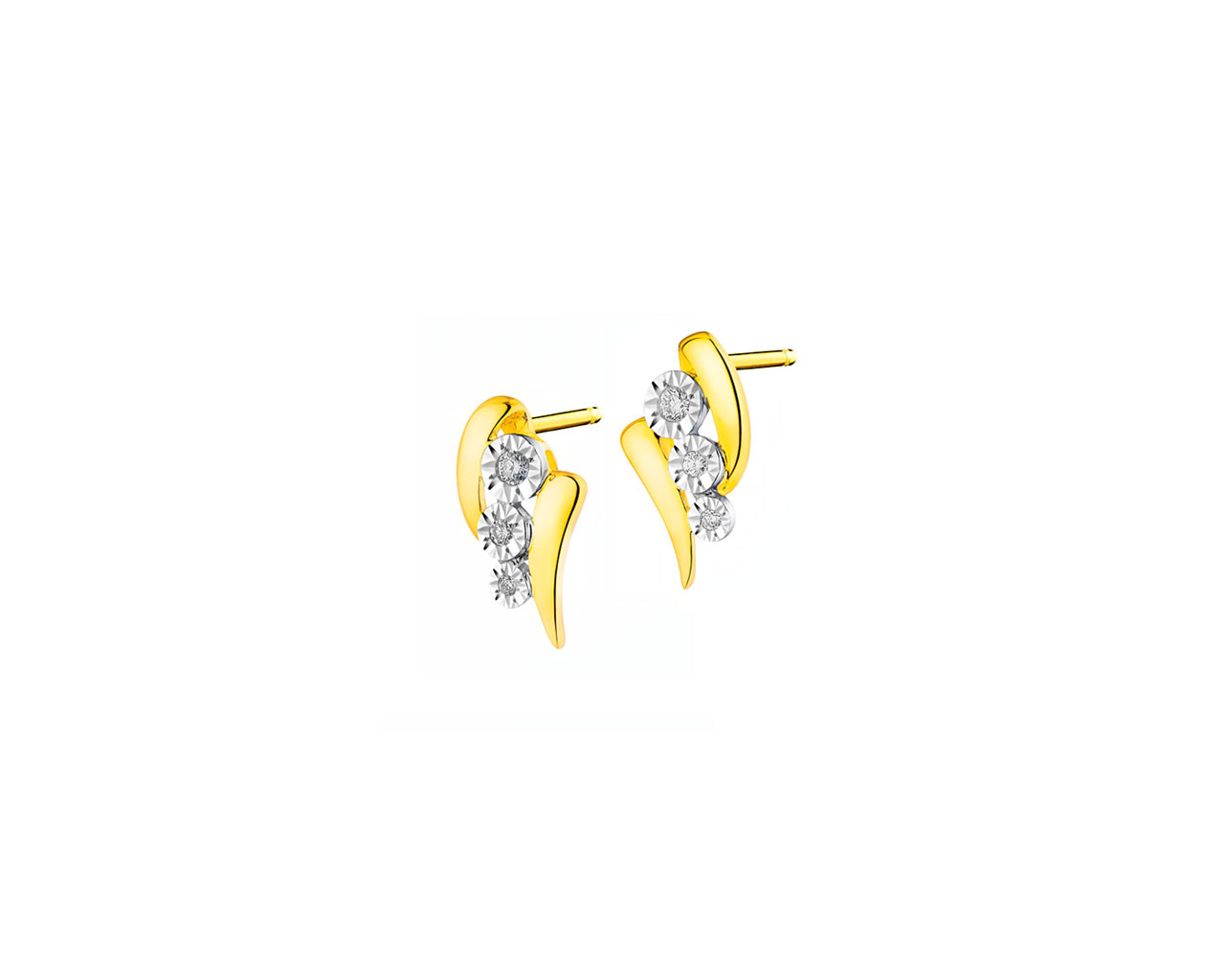 14 K Rhodium-Plated Yellow Gold Earrings with Diamonds