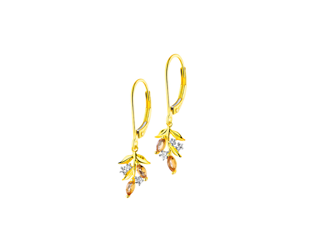 9 K Rhodium-Plated Yellow Gold Earrings with Diamonds